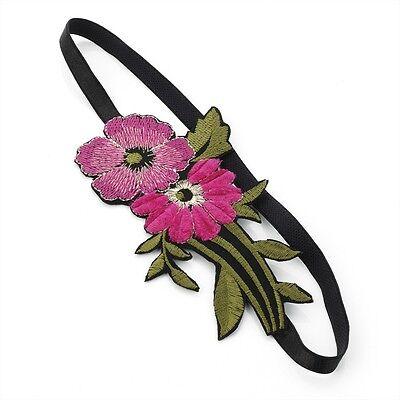 Floral Print Triple Flower Motif Stretch Headband Forehead Hair Band Accessories