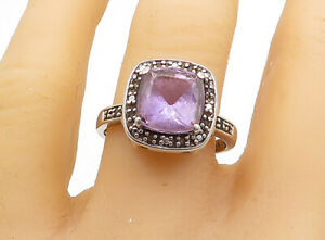925-Sterling-Silver-Amethyst-amp-Multi-Color-Topaz-Cocktail-Ring-Sz-9-R15631