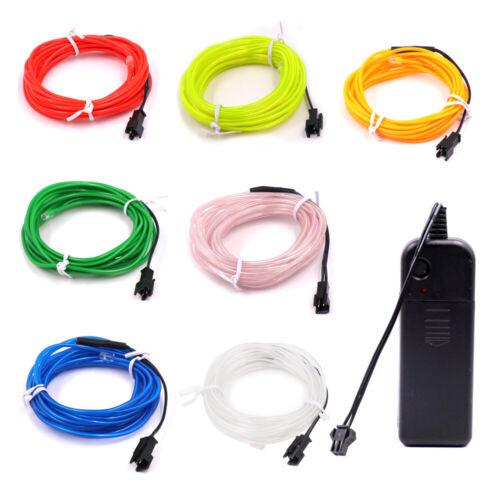 5M EL Kabel Batterien Neon Lichtschnur Leuchtschnur Leuchtdraht Wire Party Disko