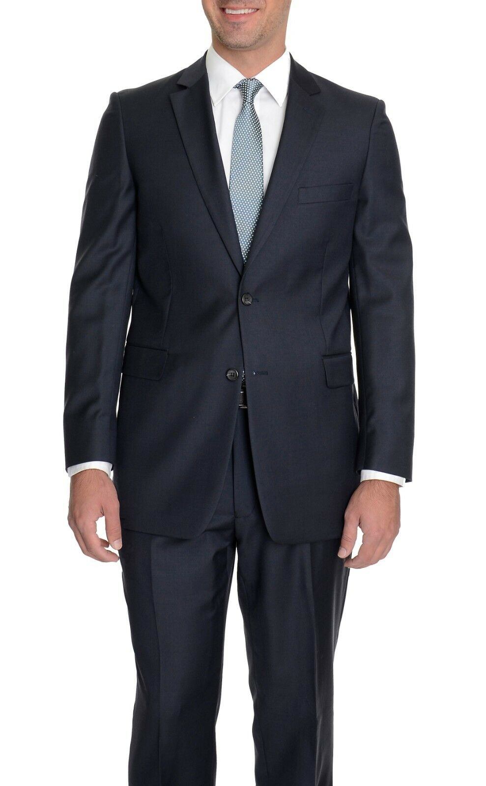 Reblack Classic Fit Solid bluee Two Button Suit 100% Wool 38R 30W