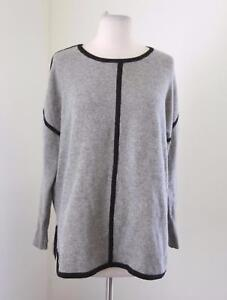 J-Crew-Womens-Lambswool-Tipped-Tunic-Sweater-Size-S-Gray-Black-Slouchy-Fit-B3279