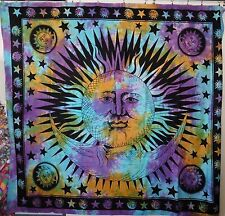 Beautiful Sun & Moon with Stars Tie Dye Double Bed Throw Approx. 225x200cm