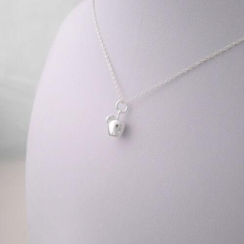 Brillant Solide Argent Sterling 925 3D Plain simple Apple Leaf Pendentif Charme Cadeau