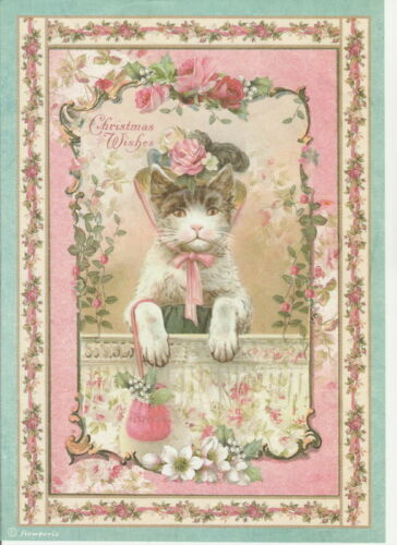Rice Paper Pink Christmas Kitten for Decoupage Scrapbook Craft