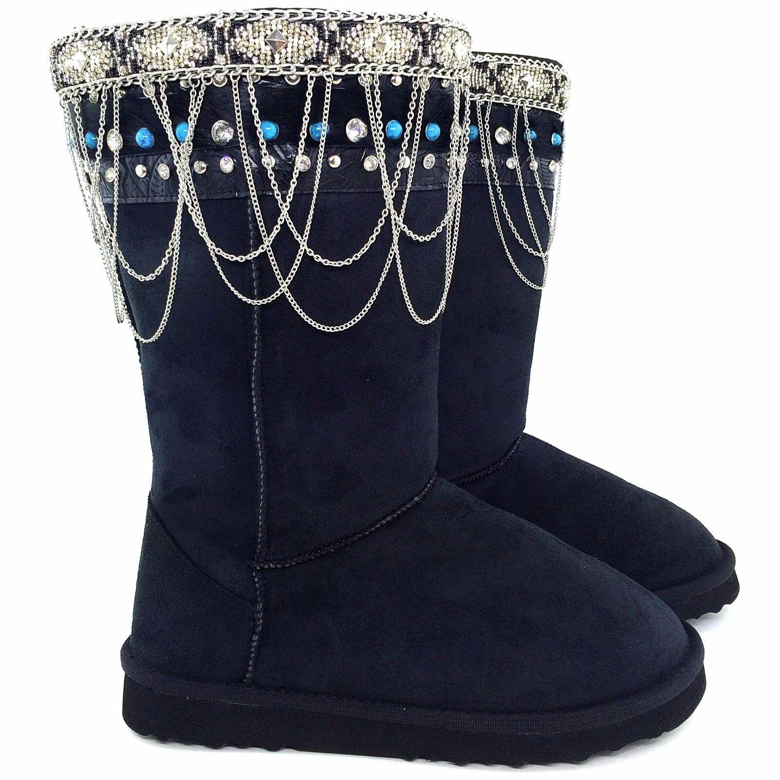 Black Chiseled Tooled Western Rhinestone Like Montana West Winter Boots Boot Top