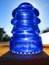 Vintage Hemingray 12 Cobalt Blue Glass Insulator Colored / Stained CD 113