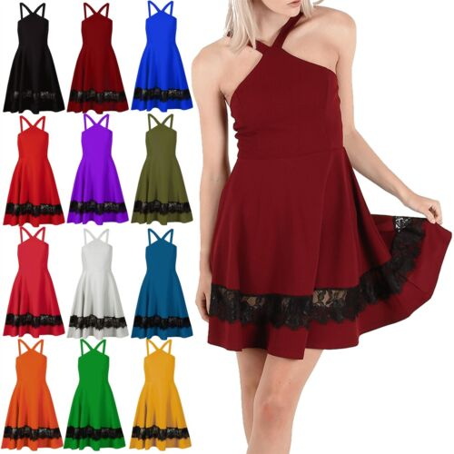 Womens Ladies Crepe Halter Neck Wide Strap Lace Insert Swing Mini Skater Dress