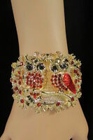 Women Gold Metal Fashion Cuff Bracelet Mini Owls Flowers Red Pink Blue Brown