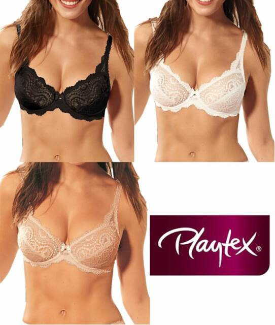 PLAYTEX P02BF FLOWER LACE UNDERWIRED LIGHTLY PADDED BALCONY BRA BLACK RRP £30.00