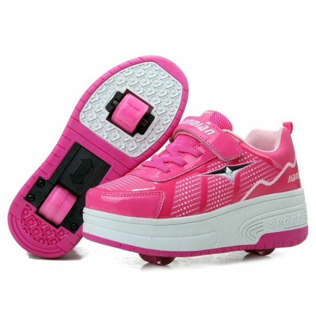 Seunota Roller Skating Shoes Boys Girls Sport Sneakers with Single Wheel Pink Black White