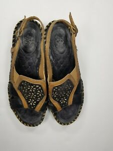 Ariat-Sandals-Sz-7-5B-Open-Toe-Clogs-Mules-Brown-Leather-Womens