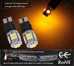 LED-SMD-T10-W5W-501-Wedge-Yellow-Strobe-Flash-Emergency-Bulbs-Parking-Sidelights
