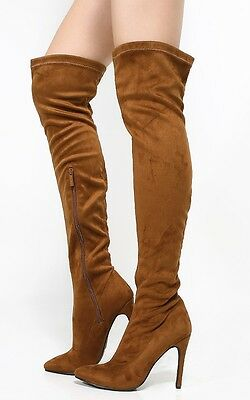 Women's Over The Knee Faux Suede High Heel Stiletto Pointy Toe Boot Shoe Sexy