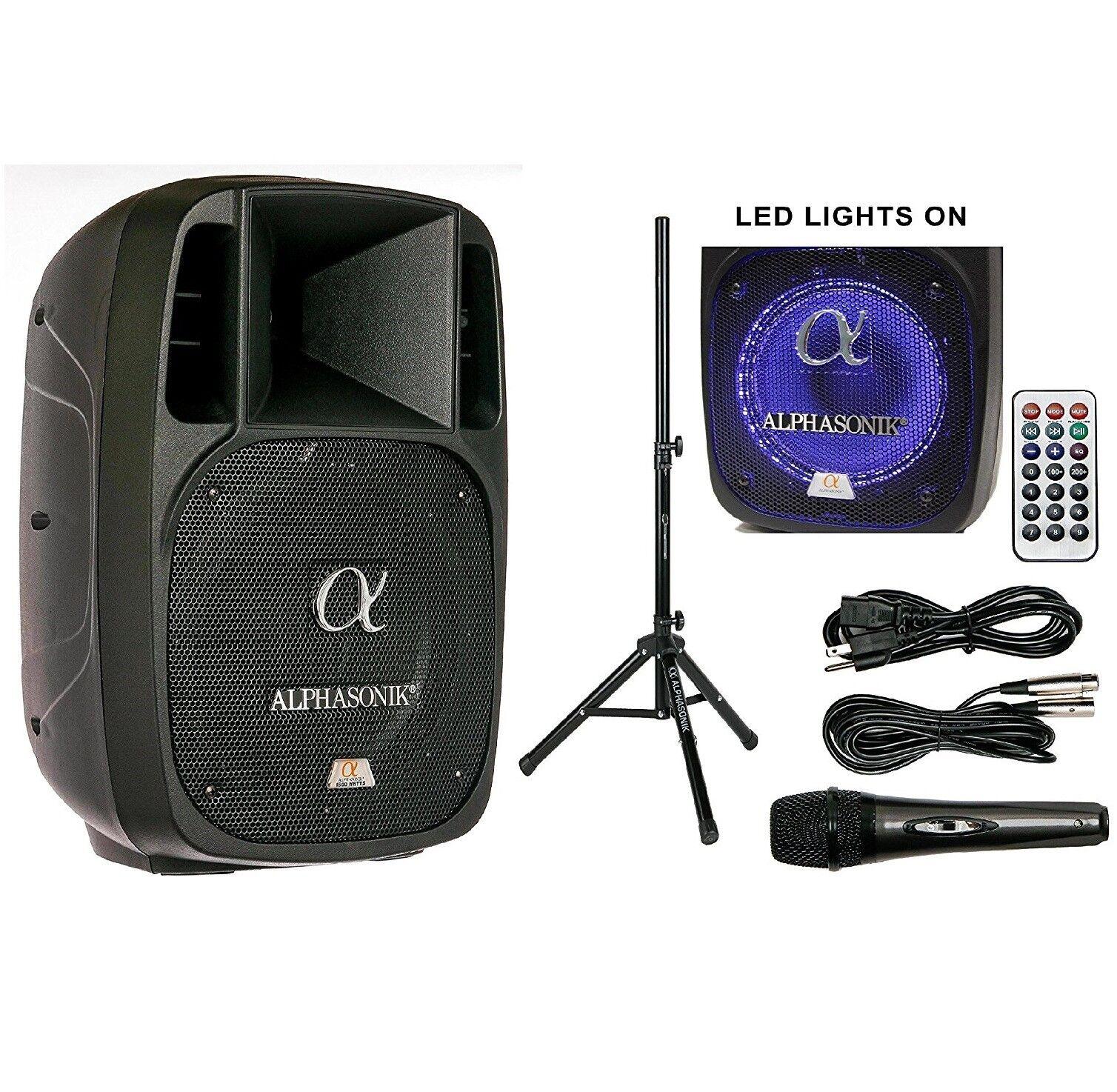 Alphasonik 12   Betrieben 2000W pro Lautsprecher Dj blåtooth USB Pa LED Mic