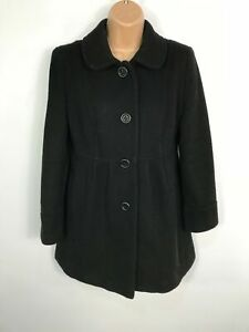 WOMENS-TESCO-PETITE-BLACK-BUTTON-UP-FITTED-WINTER-DOLLY-OVERCOAT-JACKET-UK-10