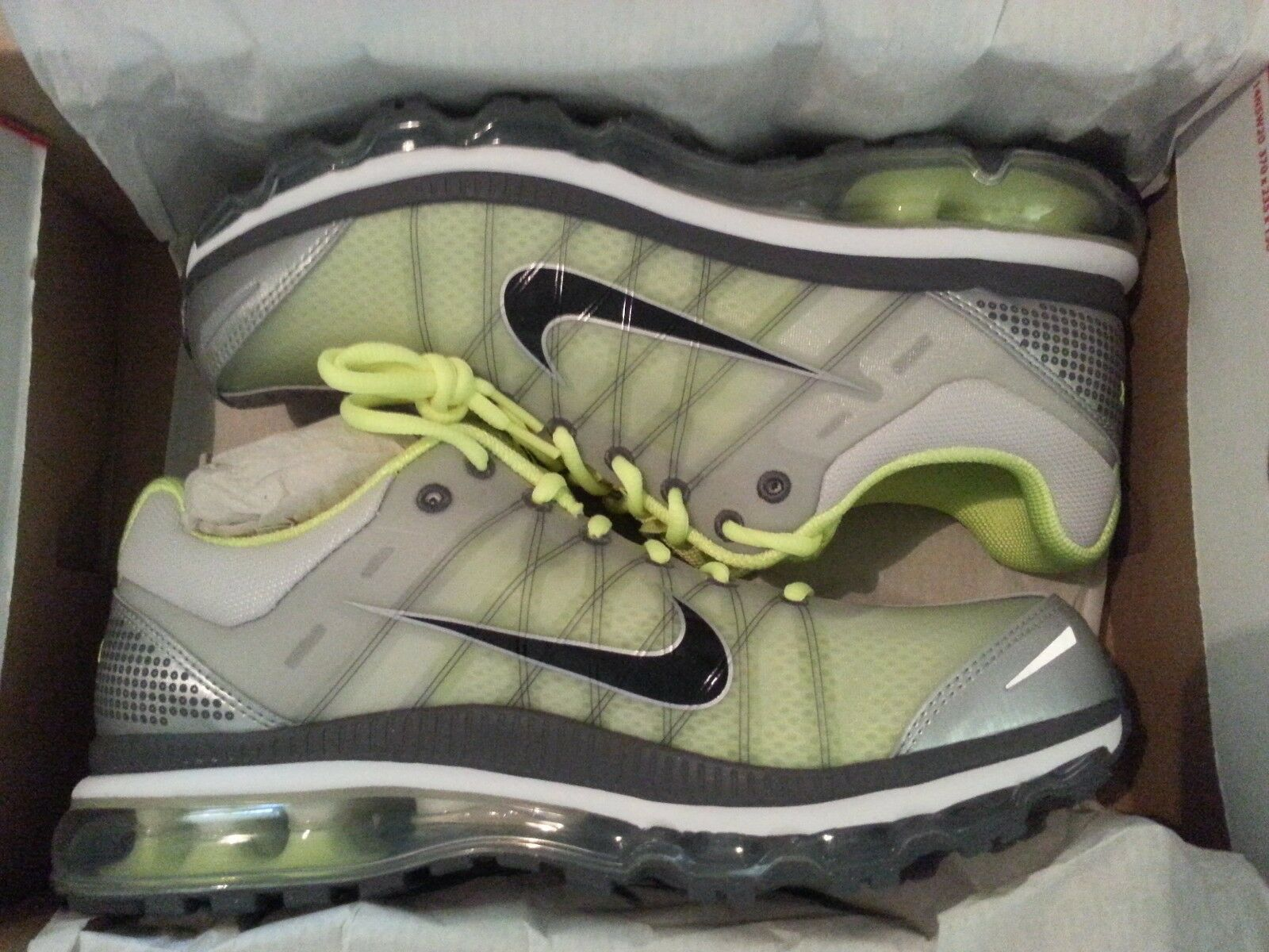 Mens New Nike Air Max 2009 Grey Gray Volt 12 Athletic Sneakers Shoes