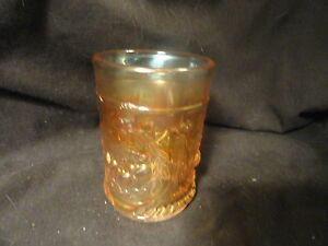 Vintage-Cherries-Carnival-Glass-Tumbler-4-034-Tall-Unsigned