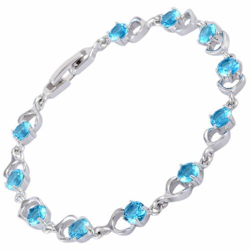 Cadeau de mariage 18K or Blanc Plaqué GP Aquamarine Zircon Tennis Bracelet