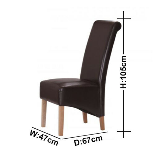 Havnyt Westend SET of 2 Solid Rubber-wood Dining Chairs - Light Oak & PU Leather