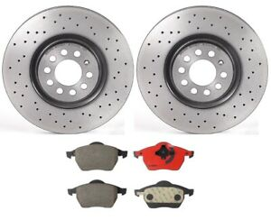 Audi CC S3 Front  Drill Slot Brake Rotors+Ceramic Brake Pads For Volkswagen