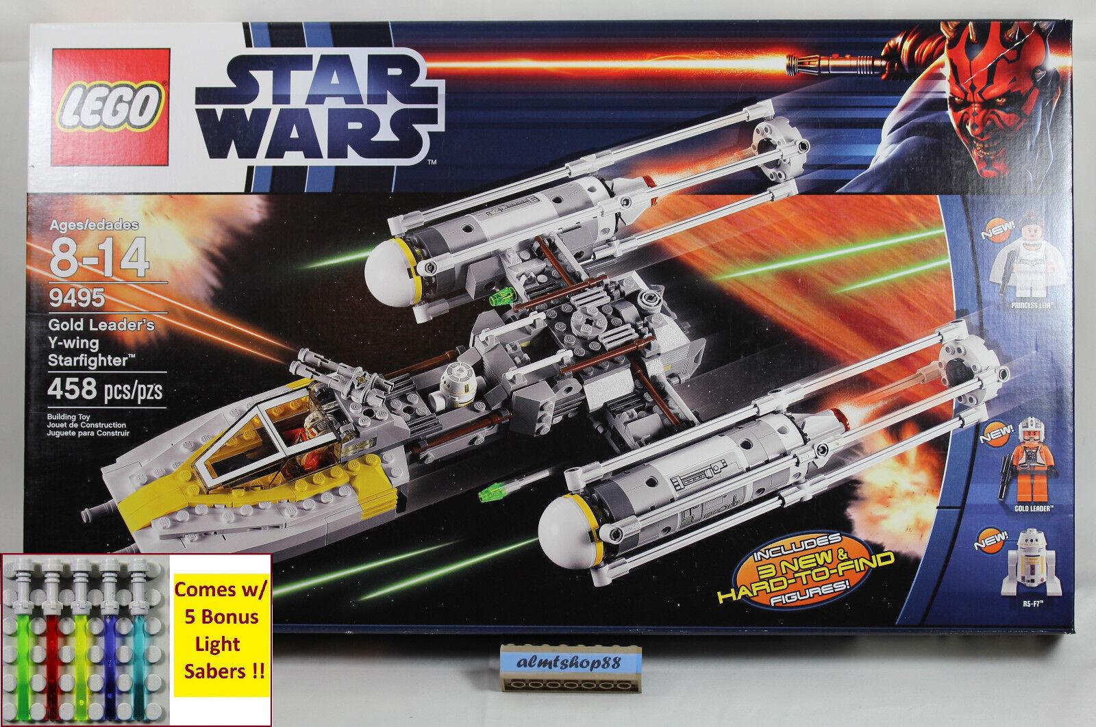 LEGO Star Wars - 9495 oro Leader's Y-Wing Starfigher NISB R5-F7 Leia Minifigure