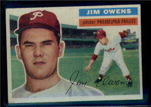1956-Topps-114-Jim-Owens-Phillies-Gray-Back-EX-Excellent