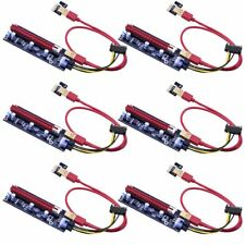 6-pack PCIe Dual Chip Pci-e 16x to 1x Powered Riser Adapter Extender Cable Minin