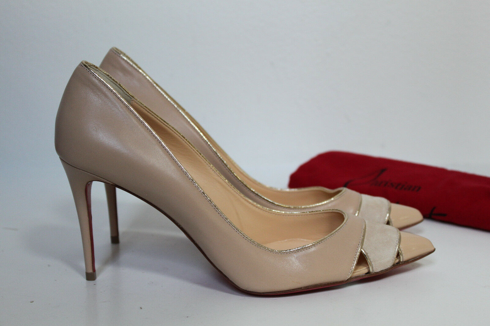 10.5   41 Christian Louboutin Biblio Coyout Nude Leather Pointed toe Pump shoes