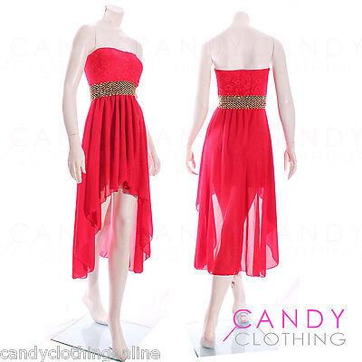 Ladies Chiffon Strapless long womens Boobtube Fishtail Dresses Asymmetrical 8 14
