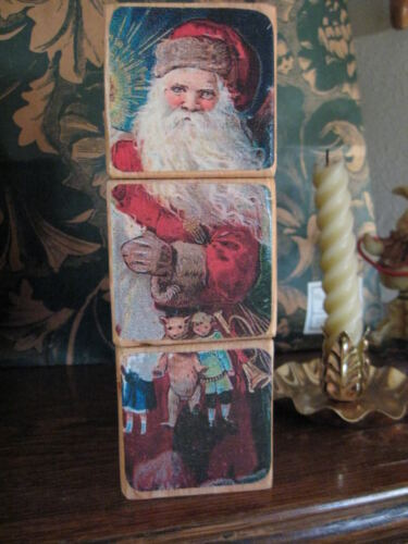 Victorian Christmas Shelf Puzzle Blocks Vintage Santa