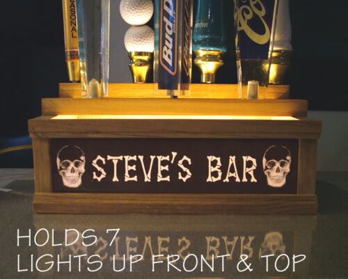 Personalized 7 tap handle stand BAR sign BONE LETTERS /& SKULLS REMOTE CONTROL