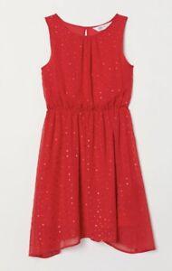 Sonderangebot zuverlässigste neue Sachen Details zu H&M Mädchen Kinder Sommer Strand Abend Cocktail Festlich Party  Kleid Rot Gr. 140