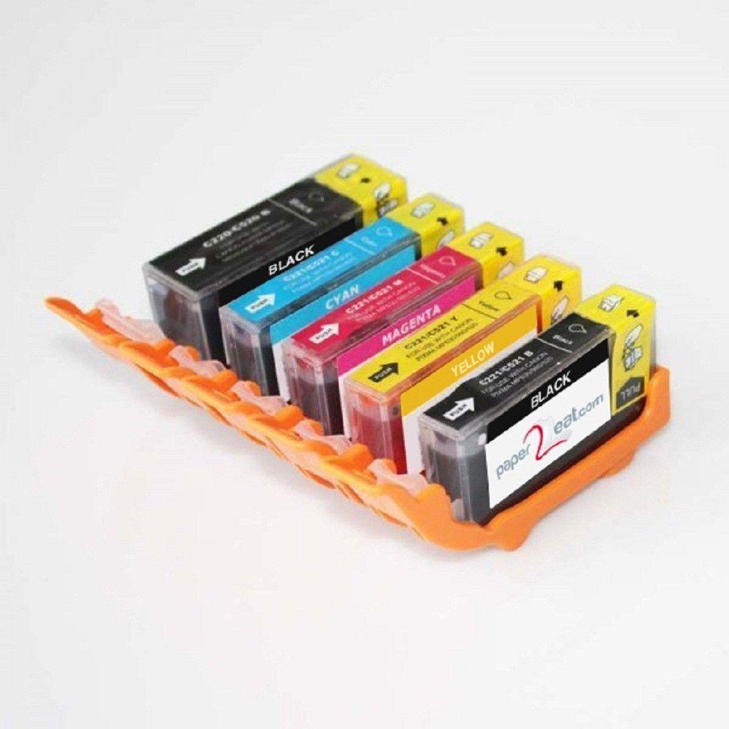 Set of 5 Refillable Edible Ink Cartridges Canon iP4600 PGI-220   CLI-221Series