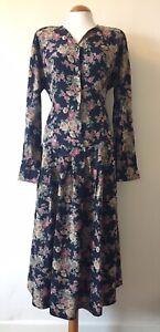 Laura-Ashley-Floral-Vintage-Retro-Maxi-Tea-Prairie-Dress-Size-16-BUTTON-MISSING