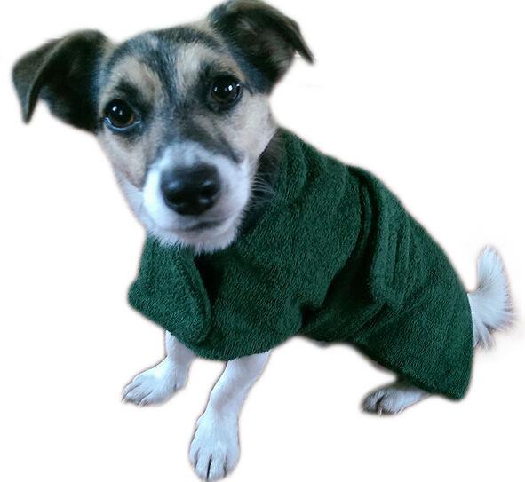 Asciugamano VERDE cane cani Cappotto. Tenere Asciutto & Warm. cotone in spugna. reversibile 12 26