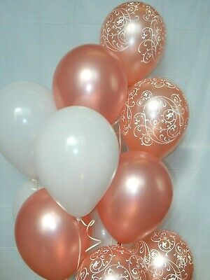 Fancy Decorations Party Supplies 12 pc Rose Gold Balloons Filigree Rose Gold