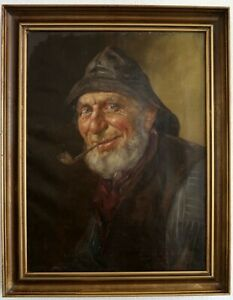 Sailor-with-Pipe-and-South-Western-um-1900-Signed-Hard-Readable-Oil-on-Leinw