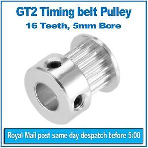 GT2 timing belt Pulley, 5mm Bore, 16 Teeth. RepRap Prusa Mendel CNC, open builds