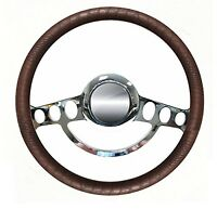Chrome & Brown Alligator 14 Steering Wheel For Ididit, Flaming River Columns