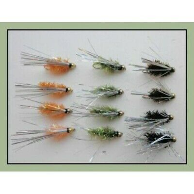 Choice of Sizes Gold Head Buzzers 6 Pack Yellow Sight Bob Killers Trout Flies