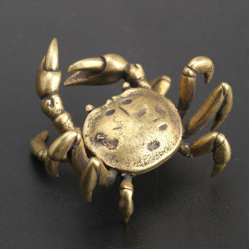 Solid Pure Vintage Brass Crab Tea Desk Ornament Antique Crafts Home Office Decor