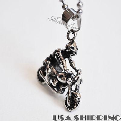 Unisex's Men Stainless Steel Skeleton rid motorcycle Pendant Necklace Gift