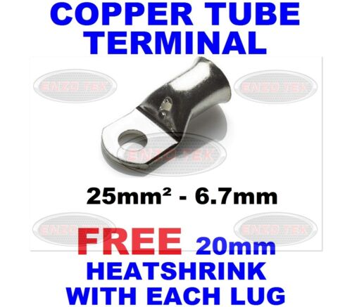 25mm²-6.7mm COPPER TUBE CABLE TERMINALS EYELETS BATTERY LUG RING END
