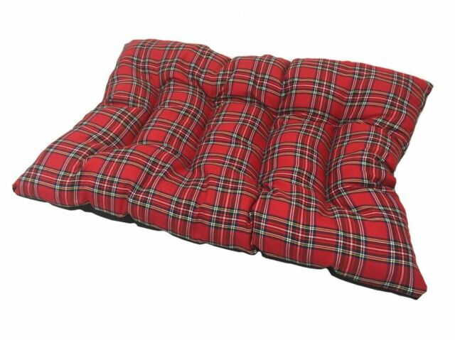 XL EXTRA LARGE RED TARTAN PET CAT/ DOG CUSHION DOG BED / FLOOR CUSHION FLEECE