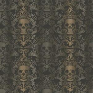 Wallpaper Skull Modern Gray, Silver, Bronze Damask Stripe on Black