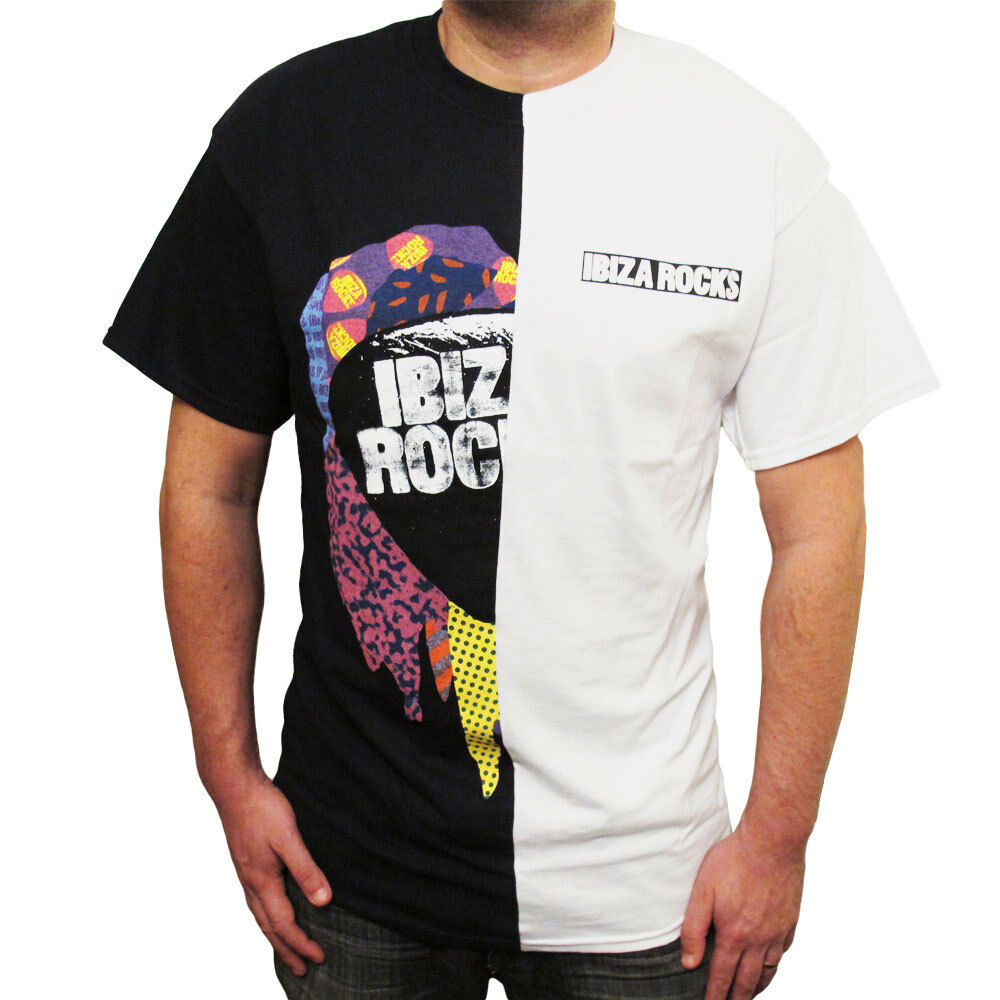 UFFICIALE Ibiza Rocks uomo giuntato T Shirt Mezza Nero Bianco Logo Top