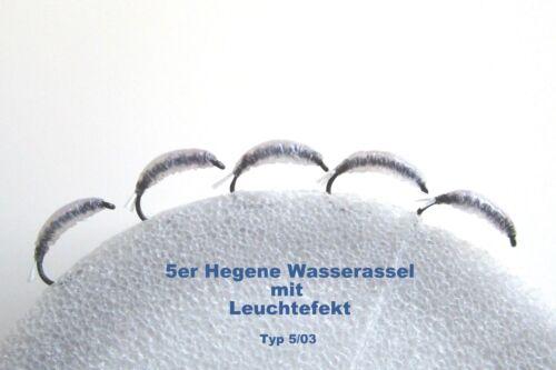 5er Hegene Nymphen Spezial Wasserassel schwarz Felchen Renke   Typ 5//03