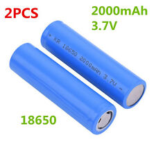 2X 3.7V 2000mAh Li-ion Rechargeable Battery 1500 Recharge Cycle 18650 Flat  Top
