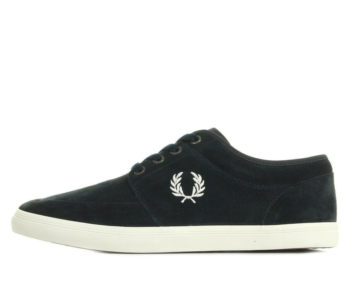 Fred Perry Mens Stratford Suede Leather Trainers Casual shoes B1168-266 Navy