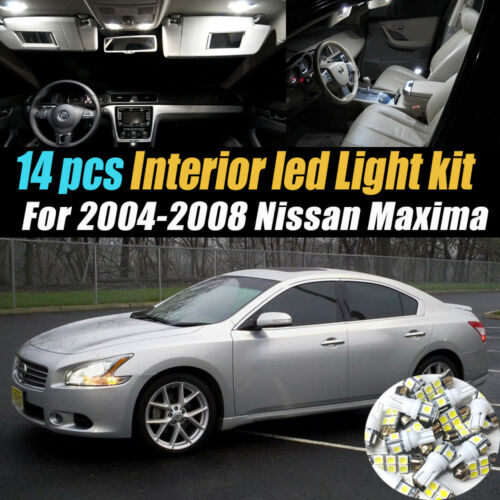 14Pc Super White Car Interior LED Light Bulb Kit for 2004-2008 Nissan Maxima